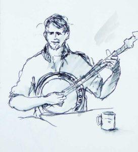 """Armelle Devillez, Zeichnung: """"Banjospieler"""""""