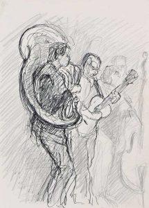 """Armelle Devillez, Zeichnung: """"'Tuba & Gitarre"""""""